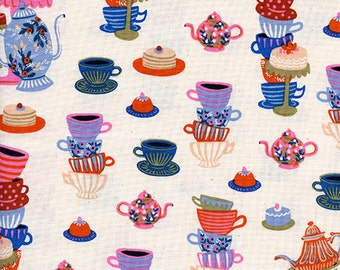 SALE Wonderland - Mad Tea Party Neutral - Rifle Paper Co - Cotton and Steel (8018-02)