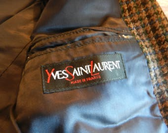 Vintage Jacket - Yves Saint Laurent Jacket -  Casual Smart Jacket - Houndstooth Design -Double Breasted- Wool- Men's Fashion - Small/Medium
