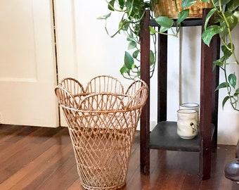 Woven Lotus Plant Basket • Open Lattice trash Basket  • Boho Decor