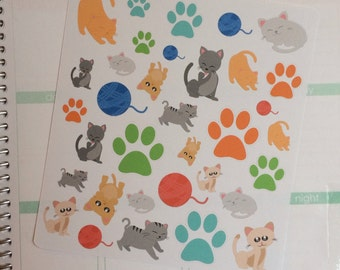 Kitty Cat Planner Stickers, Pet Planner Stickers, Cat Stickers, Cute Stickers, Pet Stickers, set of 33