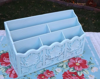 Vintage Upcycled Lerner Desk Organizer/Letter Holder/Bill Caddy/Pale Aqua Office Organizer/Home and Living/Shabby Chic Home Decor/Ornate