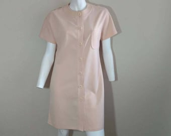 Vintage 60's Mod Dress Scooter Peach Polyester Shift Button Bullocks Wilshire M L