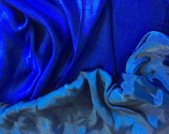 Genuine royal blue silk sateen fabric