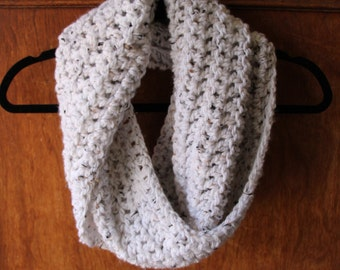 READY TO SHIP // The Flecked Infinity // Chunky Speckled Infinity Scarf // Cowl // Hood - In White