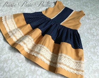 Mustard Dress, Mustard and Navy Dress, Navy and Mustard Dress, Retro Dress, Crochet Trim Dress, Girls Dress, Fall Dress, Fall Mustard Dress