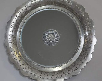 Pierced Scalloped Edge Round   Silverplated  Mirrored  Handled Tray/ Wall Decor