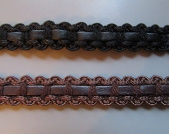 1.3cm Faux Leather Gimp Braid top quality x 1 metre 2 colours to choose