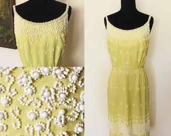 Original Vintage 1950's Lemon Strapped Beaded Wiggle Dress, 50's Yellow Wiggle Dress, 50's Strapped, Vintage Yellow Strapped Dress. Size: M
