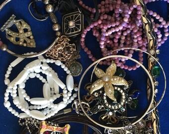 Destash lot of Vintage Necklaces, Bracelets & Brooches