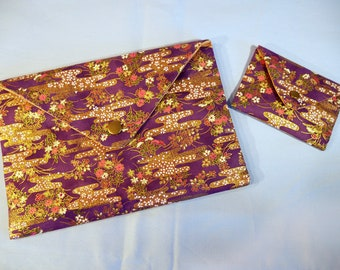 Pocket envelope - 2 sizes - purple and gold fabric