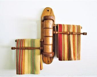 Vintage Wood Swivel Towel Rack