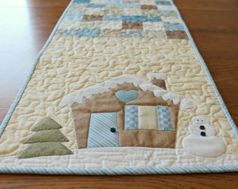 Winter Table Runner Pattern, Christmas Table Runner, Farmhouse Christmas Decor, Quilt Table Runner Pattern, Quilt Pattern