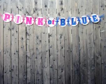 Baseball Gender Reveal Banner - Baseball Baby Shower Banner - Pink or Blue Baby Shower Banner