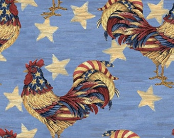 Patriotic Rooster Fabric sold per Yard Top quality material perfect for Clothing, Crafting, Home decor and more