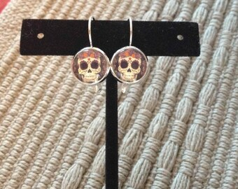 Hand made Day of the Dead or sugar skull silver earrings