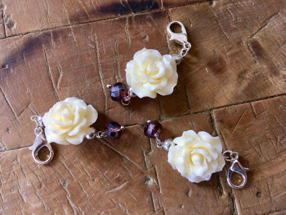 Stitch Markers Charms for Knitting and Crochet: Vintage Style Flowers and Violet Jewels