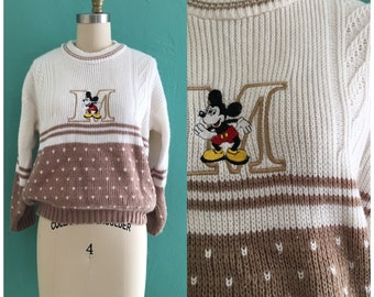 vintage 80's mickey mouse sweater //  monogram knit top