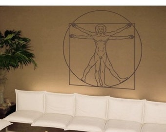 20% OFF Summer Sale Da Vinci - Vitruvian Man deco wall decal, sticker, mural, vinyl wall art