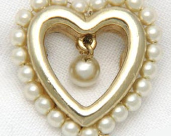 Vintage Valentine Heart Pin 1950s Simulated Pearl Gold Tone