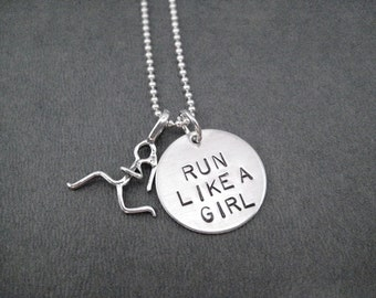 RUN Like a GIRL with Running Girl Charm Sterling Silver Necklace - 16, 18 or 20 inch Sterling Silver Ball Chain - Running Jewelry - Run Girl