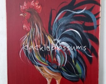 """11"""" x 22"""" #408 Rooster Welcome Friends Art on Rustic Wood"""