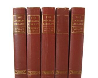 Red Antique Books, Shelf Decor, Mantel Decorations