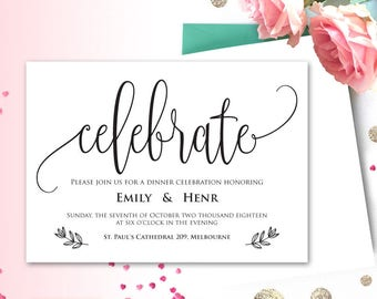 Celebrate Invitation Printable, Party Invitation, Microsoft Word Format (docx), Dinner Party, Instant Download, Editable