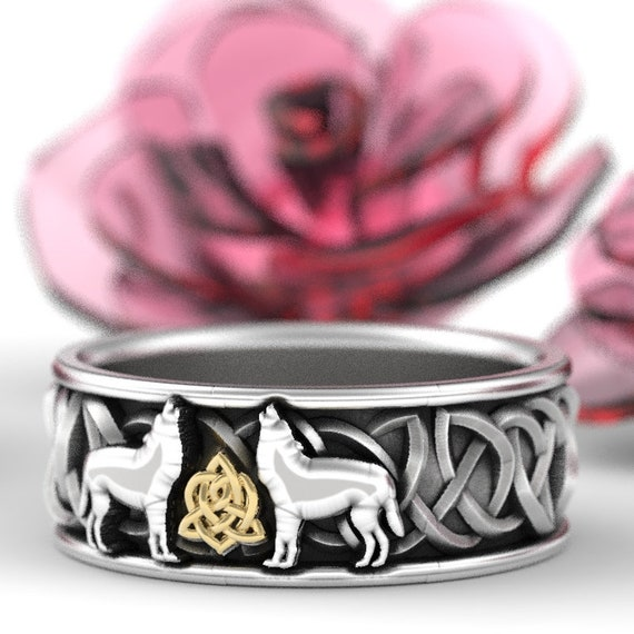 RESERVED FOR Brandon! 10k Gold and Sterling Silver Celtic Wolf Ring, Celtic Animal Ring, Wolf Jewelry, Norse Ring Custom Ring Design 1170
