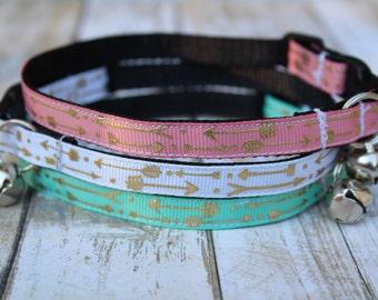 Arrow Cat Collar - Gold Arrows Cat Collar - Arrow Cat Harness - Kitten collar - Arrow XS dog collar - Turquoise cat collar - Pink Cat Collar
