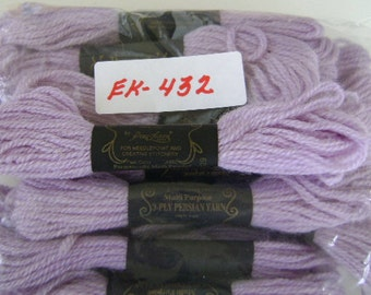 Yarn, Paragon, 100% Wool Crewel Needlepoint, Color #429 Lilac, 8.8 Yard Skeins