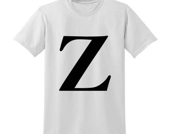 Personalised Alphabet Tshirt Favourite Letter Custom Name Black Initials Z