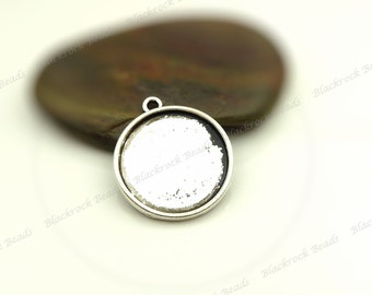 10 Cabochon Settings Antique Silver Tone - Fits 14mm Cab, Round Bezel Trays, Cameo Base, Pendant Blanks - BA34
