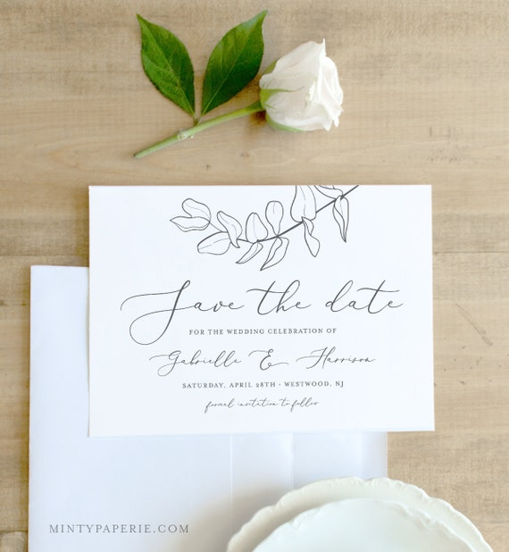 Self-Editing Save the Date Template, INSTANT DOWNLOAD, 100% Editable, Printable Eucalyptus Wedding Date Card, Templett, DIY #051-129SD