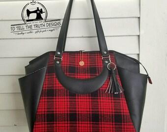 Swoon Annette - Travel Bag - Commuter Bag - Satchel Bag - Large Handbag - Birthday Gift - Gift for Woman - Vegan Leather Bag - Tartan Bag