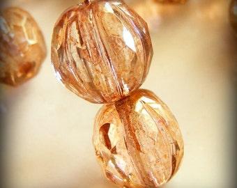Czech Glass Melon Beads 10mm Round Pink Picasso (4pk) SRB-10M-PP