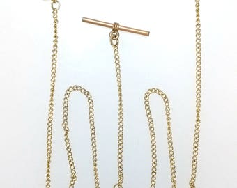 "Antique 14K Gold Filled 13.5"" Long Double Albert Twisted Oval Link T-Bar Swivel Clasp Pocket Watch Chain 19209"