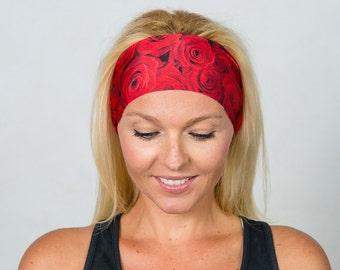 Yoga Headband-Red Running Headband-Workout Headband-Fitness Headband-Red Roses Headband-Wicking Headband-Turban Headband-Red Yoga Headband