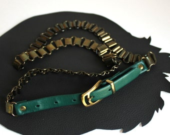 Vintage Brass Metal Chain & Forest Green Vinyl Link Belt -  29 to 31 inches