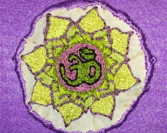 Green and Purple Om Symbol in a Lotus Flower Hand Embroidered Patch