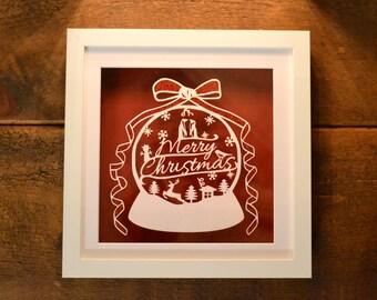 Merry Christmas papercut framed hand cut art - ideal gift