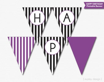 Happy Birthday Banner Printable Black Stripes Purple Birthday Decoration Birthday Decor Birthday Wall Decor Girls Birthday Decor Digital