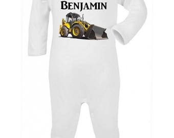 Pajamas baby backhoe personalized with name
