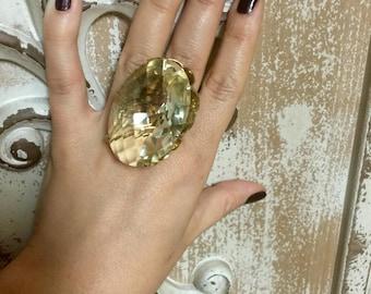 Gold and quartz statement ring