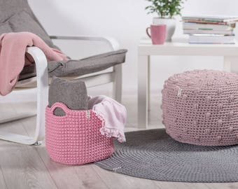 Storing basket |nursery basket |Scandinavian basket |pink basket |crochet basket |Laundry basket | Toy storage | Storage basket |Yarn Basket