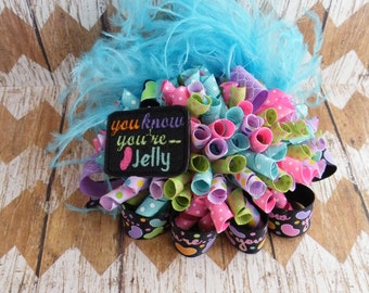 """5"""" Jelly Bean Bow, Funky Loopy Bow, Easter Bow, Pink Bow, Blue Bow, Jelly"""