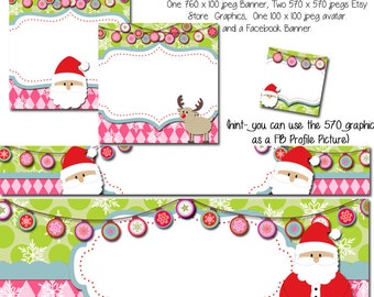 Etsy Banner and Facebook Set - Santa Set, Holiday Graphics, Holiday Etsy Cover Photo, Christmas Etsy Banner, Christmas Facebook Banner