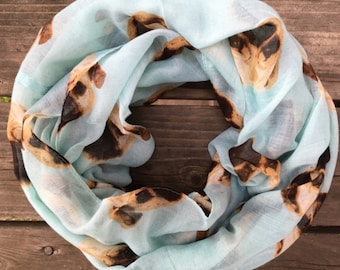 Blue Infinity Pug Puggly Dog Spring Scarf