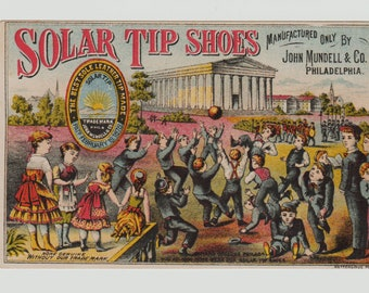 Vintage Trade Card, Solar Tip Shoes, Mundell and Co, Philadelphia