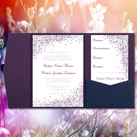 Plum And Silver Wedding Invitations: Pocket Wedding Invitations Confetti Plum Purple