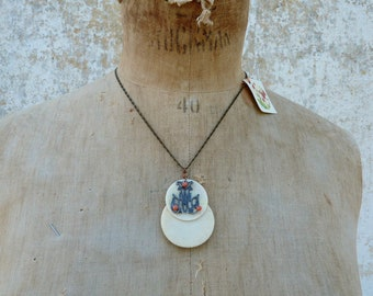 Handmade vintage old French bovine bone game pieces  on chain